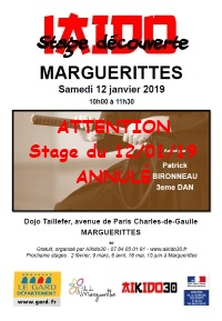 Attention stage du 12/01/19 annulé